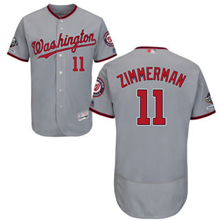 Men's Nationals #11 Ryan Zimmerman Grey Flexbase Authentic Collection 2019 World Series Champions Stitched Baseball Jersey