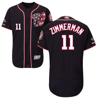 Men's Nationals #11 Ryan Zimmerman Navy Blue Flexbase Authentic Collection 2019 World Series Champions Stitched Baseball Jersey