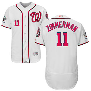 Men's Nationals #11 Ryan Zimmerman White Flexbase Authentic Collection 2019 World Series Champions Stitched Baseball Jersey