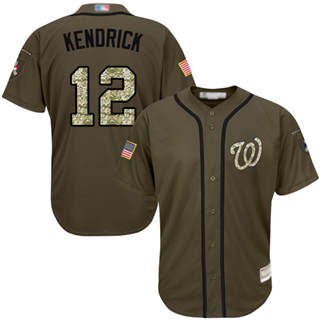 Men's Nationals #12 Howie Kendrick Green Salute to Service Stitched Baseball Jersey