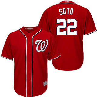 Men's Nationals #22 Juan Soto Red New Cool Base Stitched Baseball Jersey