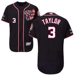 Men's Nationals #3 Michael Taylor Navy Blue Flexbase Authentic Collection 2019 World Series Champions Stitched Baseball Jersey