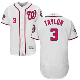 Men's Nationals #3 Michael Taylor White Flexbase Authentic Collection 2019 World Series Champions Stitched Baseball Jersey