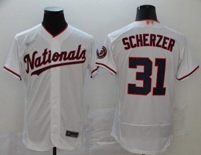 Men's Nationals #31 Max Scherzer White Alternate Authentic Stitched Baseball Jersey