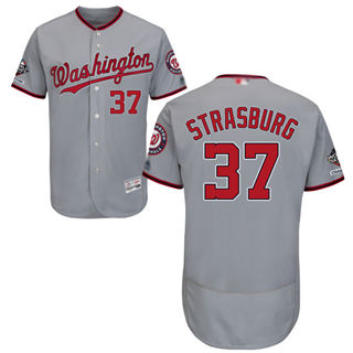 Men's Nationals #37 Stephen Strasburg Grey Flexbase Authentic Collection 2019 World Series Champions Stitched Baseball Jersey