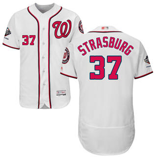 Men's Nationals #37 Stephen Strasburg White Flexbase Authentic Collection 2019 World Series Champions Stitched Baseball Jersey