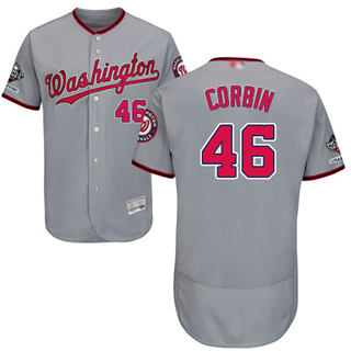 Men's Nationals #46 Patrick Corbin Grey Flexbase Authentic Collection 2019 World Series Champions Stitched Baseball Jersey