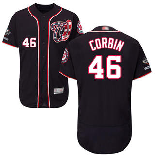 Men's Nationals #46 Patrick Corbin Navy Blue Flexbase Authentic Collection 2019 World Series Champions Stitched Baseball Jersey