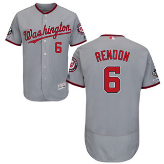 Men's Nationals #6 Anthony Rendon Grey Flexbase Authentic Collection 2019 World Series Champions Stitched Baseball Jersey