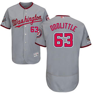 Men's Nationals #63 Sean Doolittle Grey Flexbase Authentic Collection 2019 World Series Champions Stitched Baseball Jersey