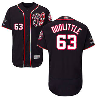 Men's Nationals #63 Sean Doolittle Navy Blue Flexbase Authentic Collection 2019 World Series Champions Stitched Baseball Jersey