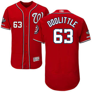 Men's Nationals #63 Sean Doolittle Red Flexbase Authentic Collection 2019 World Series Champions Stitched Baseball Jersey