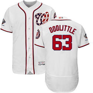 Men's Nationals #63 Sean Doolittle White Flexbase Authentic Collection 2019 World Series Champions Stitched Baseball Jersey