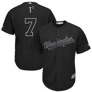 Men's Nationals #7 Trea Turner Black T3 Players Weekend Cool Base Stitched Baseball Jersey