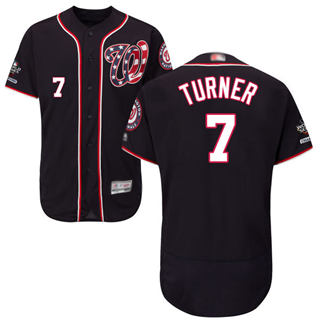 Men's Nationals #7 Trea Turner Navy Blue Flexbase Authentic Collection 2019 World Series Champions Stitched Baseball Jersey