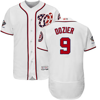 Men's Nationals #9 Brian Dozier White Flexbase Authentic Collection 2019 World Series Champions Stitched Baseball Jersey