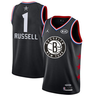 Men's Nets #1 D'Angelo Russell Black Basketball Jordan Swingman 2019 All-Star Game Jersey