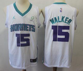 Men's  Charlotte Hornets #15 Kemba Walker White Basketball Jordan Brand Swingman Jersey
