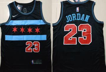 Men's  Chicago Bulls #23 Michael Jordan Black 2018-19 City Edition Basketball Swingman Jersey