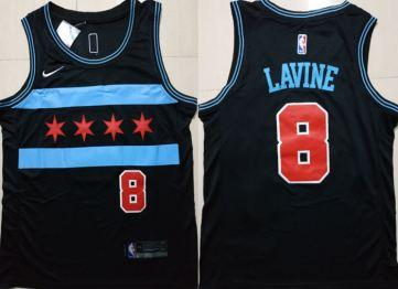 Men's  Chicago Bulls #8 Zach Lavine Black 2018-19 City Edition Basketball Swingman Jersey