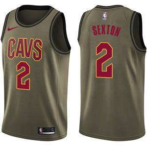 Men's  Cleveland Cavaliers #2 Collin Sexton Green Basketball Swingman Salute to Service Jersey