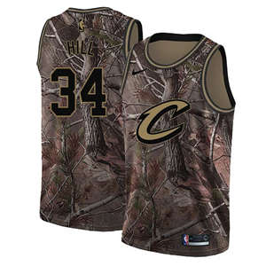 Men's  Cleveland Cavaliers #34 Tyrone Hill Camo Basketball Swingman Realtree Collection Jersey