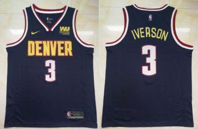 Men's  Denver Nuggets #3 Allen Iverson Navy Basketball Swingman Icon Edition Jersey