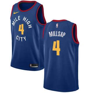 Men's  Denver Nuggets #4 Paul Millsap Blue Basketball Swingman Statement Edition Jersey