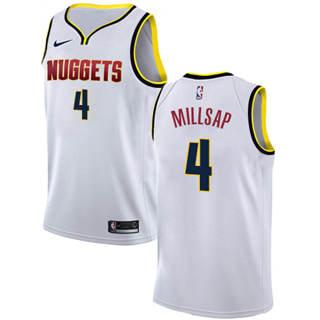 Men's  Denver Nuggets #4 Paul Millsap White Basketball Swingman Association Edition Jersey