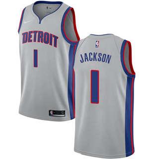 Men's  Detroit Pistons #1 Reggie Jackson Silver Basketball Swingman Statement Edition Jersey