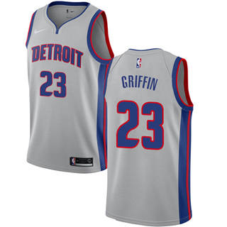 Men's  Detroit Pistons #23 Blake Griffin Silver Basketball Swingman Statement Edition Jersey