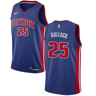 Men's  Detroit Pistons #25 Reggie Bullock Blue Basketball Swingman Icon Edition Jersey
