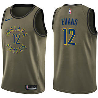 Men's  Indiana Pacers #12 Tyreke Evans Green Salute to Service Basketball Swingman Jersey