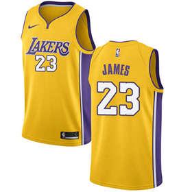 Men's  Los Angeles Lakers #23 LeBron James Gold Basketball Swingman Icon Edition Jersey