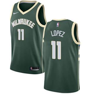 Men's  Milwaukee Bucks #11 Brook Lopez Green Basketball Swingman Icon Edition Jersey