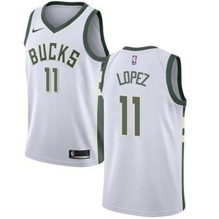 Men's  Milwaukee Bucks #11 Brook Lopez White Basketball Swingman Association Edition Jersey