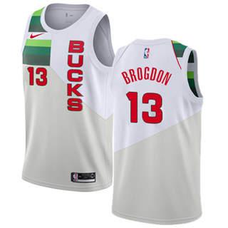 Men's  Milwaukee Bucks #13 Malcolm Brogdon White Basketball Swingman Earned Edition Jersey