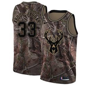 Men's  Milwaukee Bucks #33 Kareem Abdul-Jabbar Camo Basketball Swingman Realtree Collection Jersey