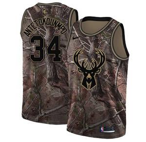 Men's  Milwaukee Bucks #34 Giannis Antetokounmpo Camo Basketball Swingman Realtree Collection Jersey