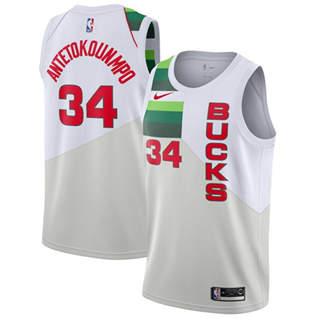 Men's  Milwaukee Bucks #34 Giannis Antetokounmpo White Basketball Swingman Earned Edition Jersey