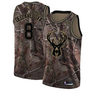 Men's  Milwaukee Bucks #8 Matthew Dellavedova Camo Basketball Swingman Realtree Collection Jersey