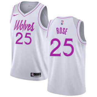 Men's  Minnesota Timberwolves #25 Derrick Rose White Basketball Swingman Earned Edition Jersey