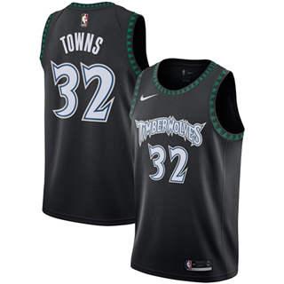 Men's  Minnesota Timberwolves #32 Karl-Anthony Towns Black Basketball Swingman Hardwood Classics Jersey