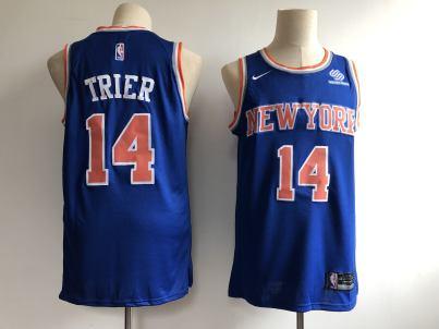 Men's  New York Knicks #14 Allonzo Trier Blue Basketball Swingman Icon Edition Jersey