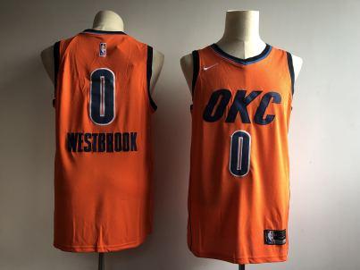 Men's  Oklahoma City Thunder #0 Russell Westbrook Orange Basketball Swingman 2018-19 Earned Edition Jersey