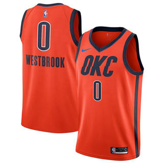 Men's  Oklahoma City Thunder #0 Russell Westbrook Orange Basketball Swingman Earned Edition Jersey