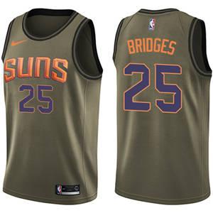 Men's  Phoenix Suns #25 Mikal Bridges Green Basketball Swingman Salute to Service Jersey
