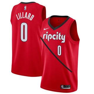 Men's  Portland Trail Blazers #0 Damian Lillard Red Basketball Swingman Earned Edition Jersey