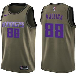 Men's  Sacramento Kings #88 Nemanja Bjelica Green Basketball Swingman Salute to Service Jersey