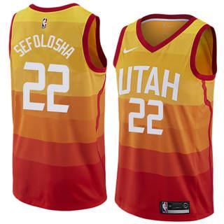 Men's  Utah Jazz #22 Thabo Sefolosha Orange 2018-19 Swingman Basketball New City Edition Jersey